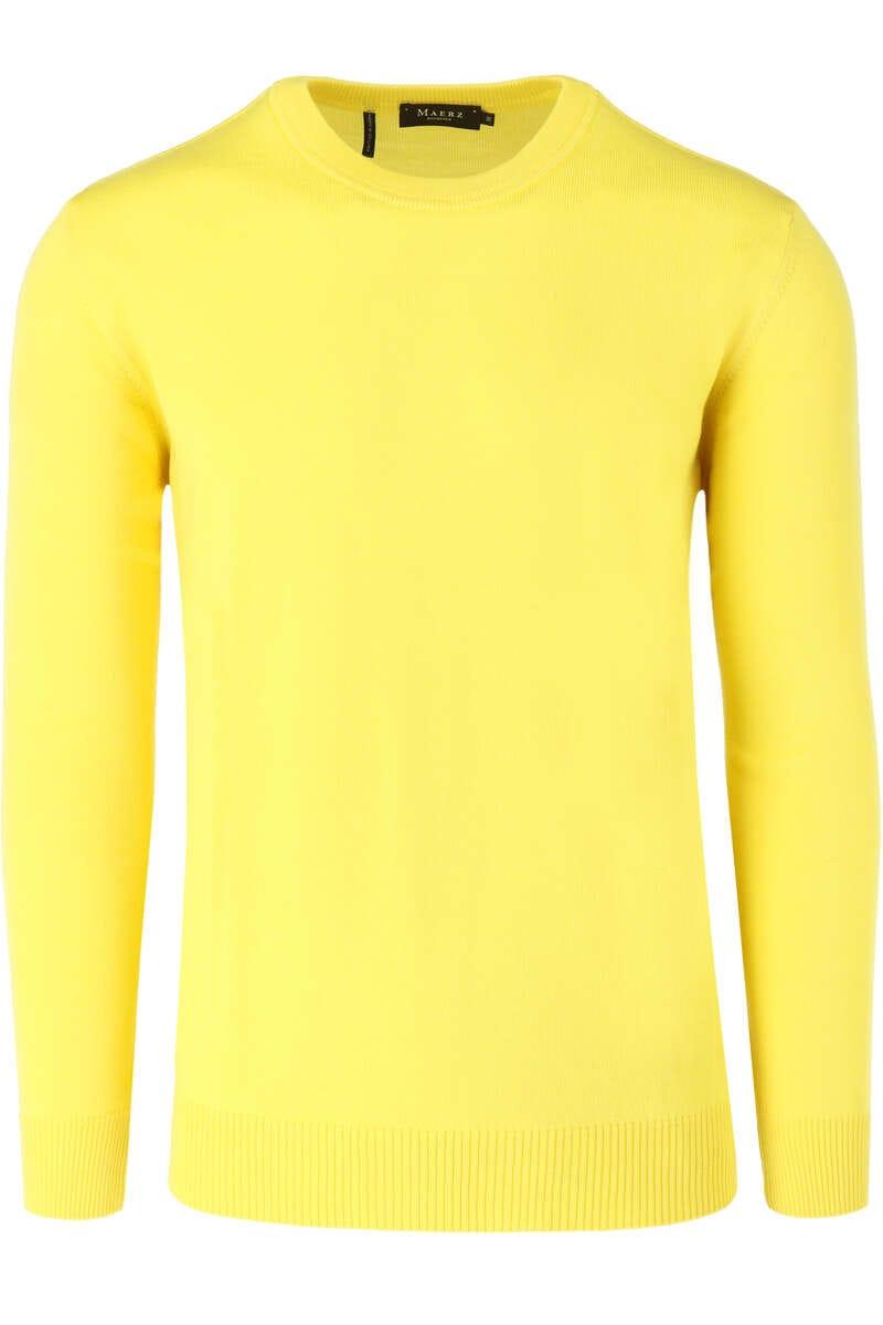 MAERZ Classic Fit Pullover Rundhals gelb, einfarbig 48