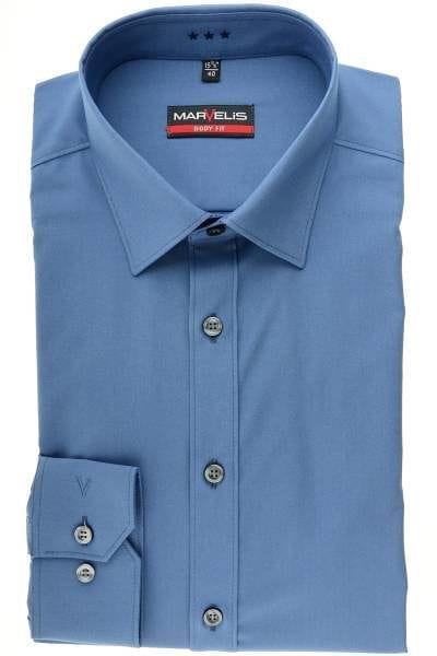 Marvelis Hemd - Body Fit - rauchblau , Einfarbig