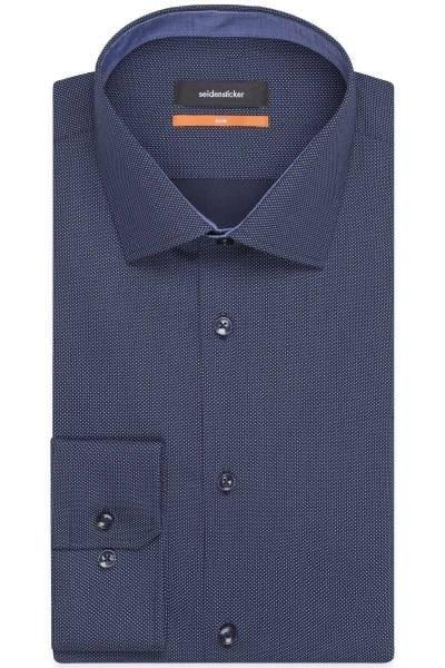 Seidensticker Slim Fit Hemd dunkelblau, Gepunktet