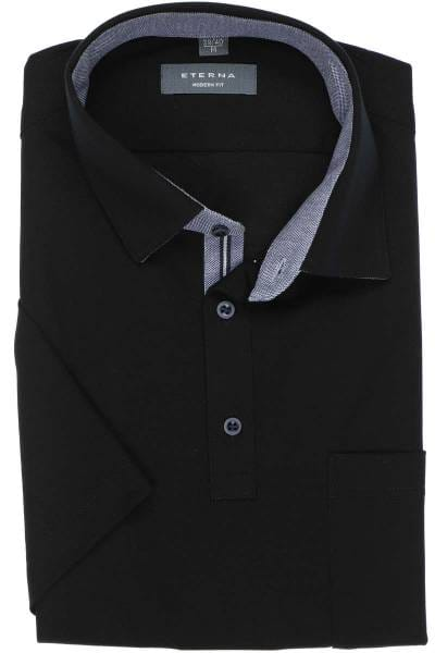 ETERNA Modern Fit Poloshirt schwarz, Einfarbig
