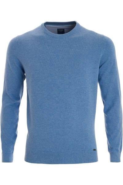 OLYMP Modern Fit Strickpullover Rundhals eisblau, einfarbig