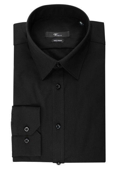 Venti Hemd - Body Fit - schwarz, Einfarbig