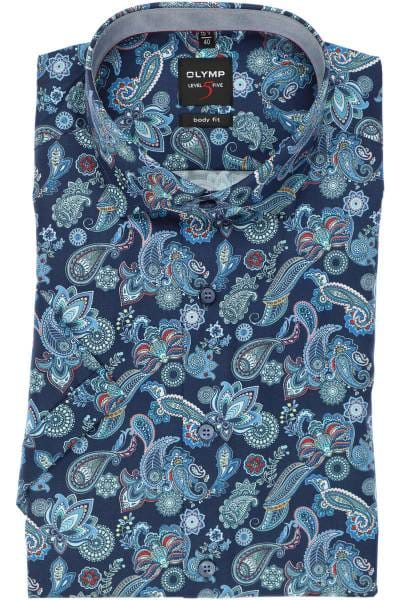 OLYMP Level Five Body Fit Hemd blau/rot, Paisley