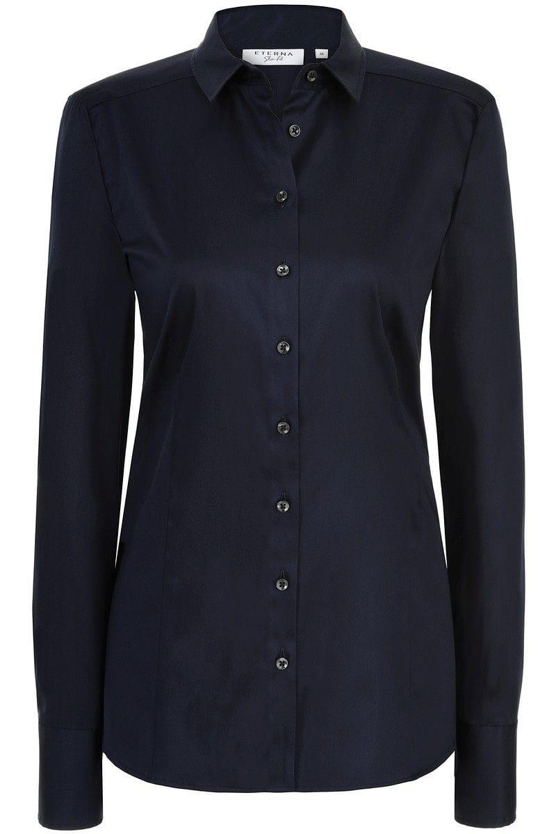 eterna bluse slim fit in langarm 63cm dunkelblau einfarbig. Black Bedroom Furniture Sets. Home Design Ideas