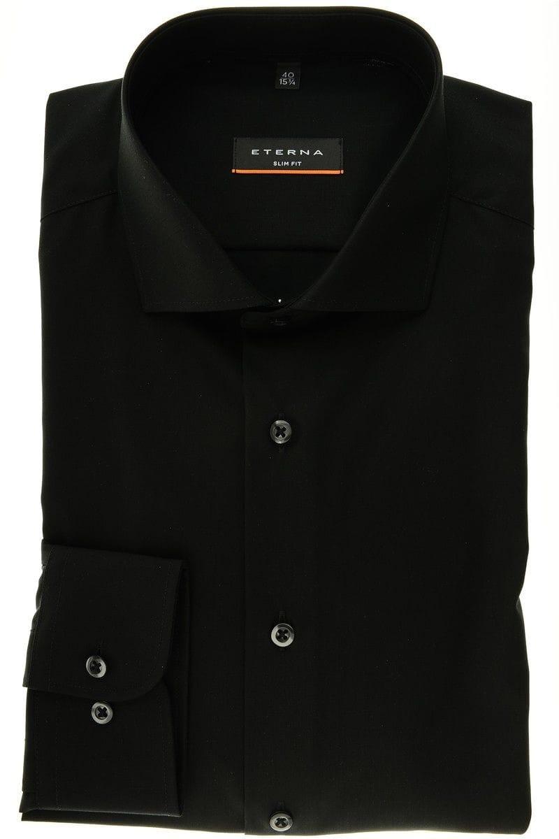 eterna slim fit hemd in langarm 67cm schwarz einfarbig. Black Bedroom Furniture Sets. Home Design Ideas