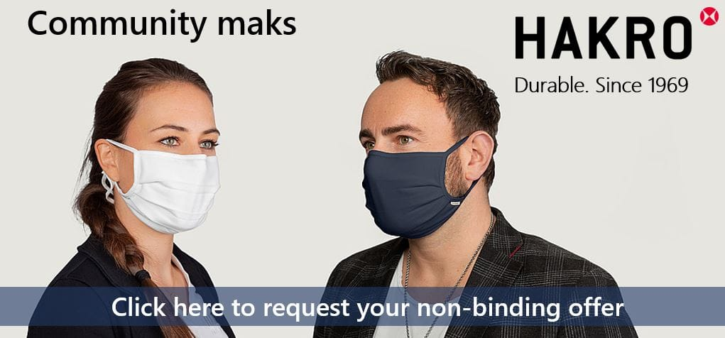 Community masks for companies by HAKRO