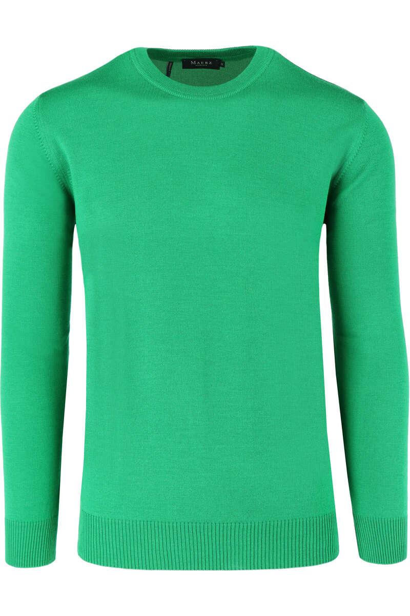 MAERZ Classic Fit Pullover Rundhals grün, einfarbig 50