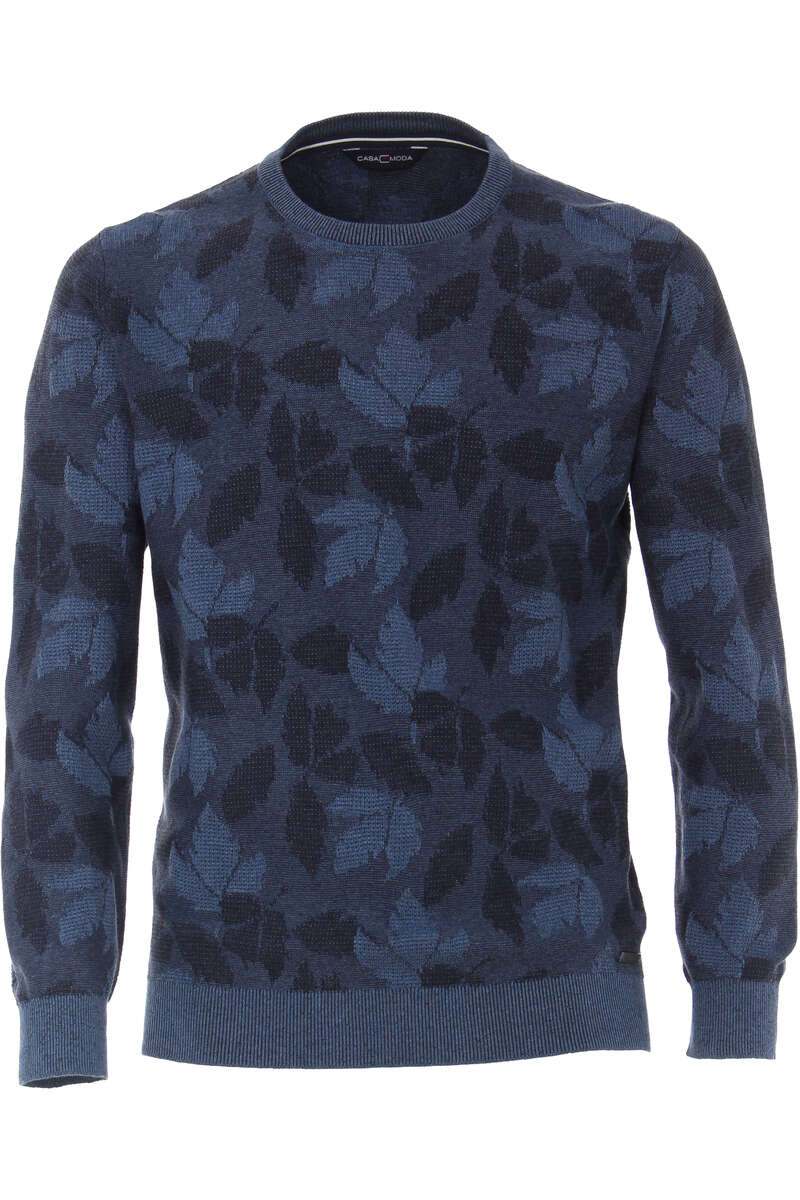 Casa Moda Casual Modern Fit Pullover Rundhals blau, gemustert L