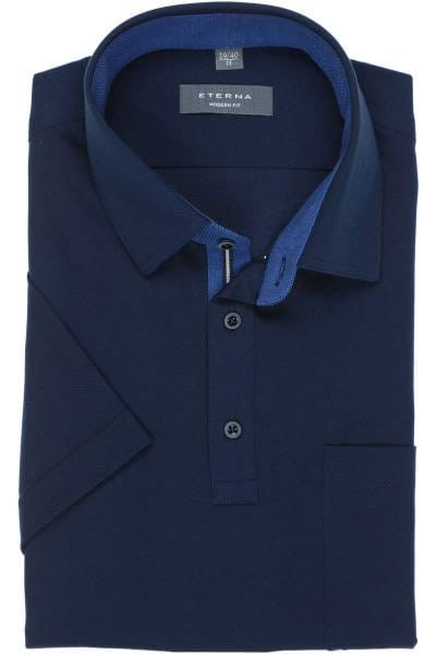 ETERNA Modern Fit Poloshirt marine, Einfarbig