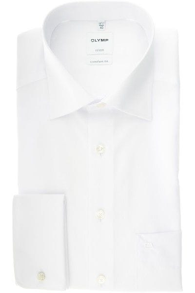 Olymp Hemd - Comfort Fit - Umschlagmanschette - weiss, Einfarbig
