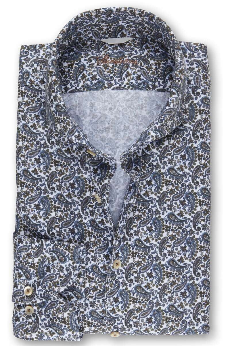 Stenströms Fitted Body Hemd blau/braun, Paisley L