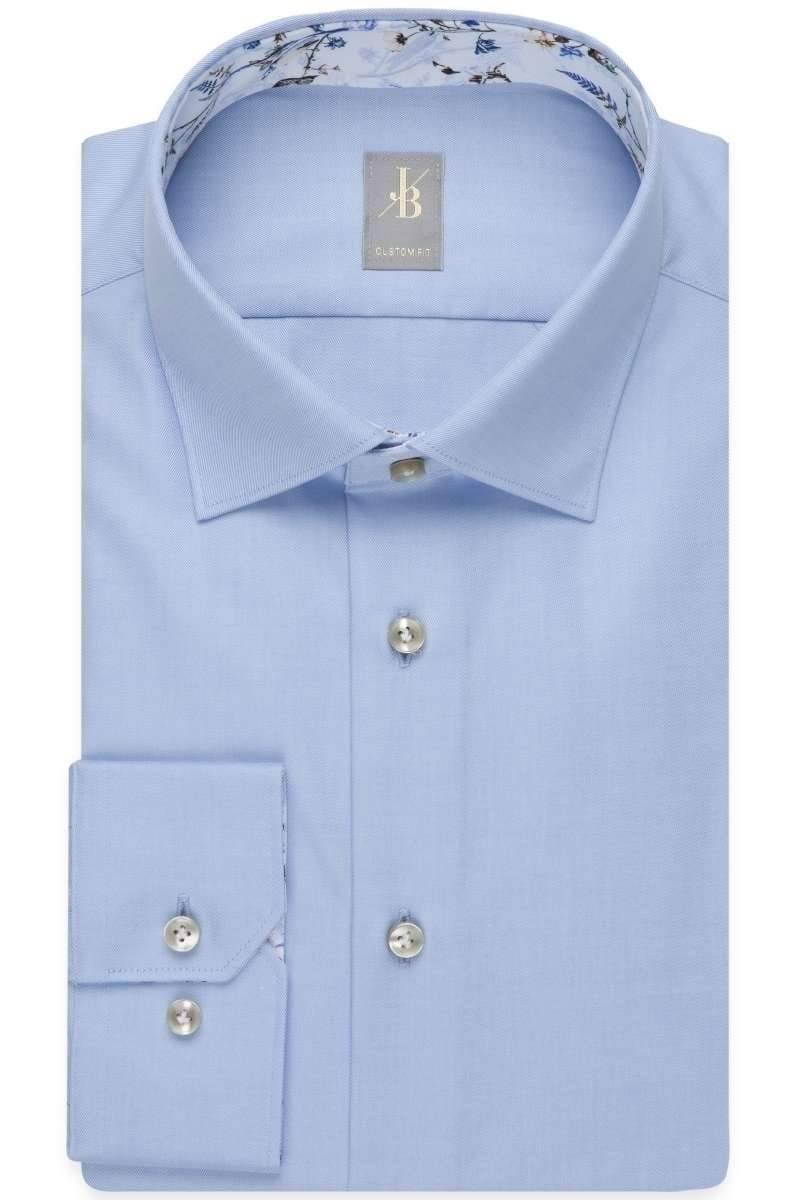 Hochwertiges Jacques Britt Custom Fit Hemd in der Farbe blau ,Einfarbig.  Der Ärmeltyp ist Langarm (64cm), das Hemd ist Bügelleicht und Ohne  Brusttasche. dd8b15098a