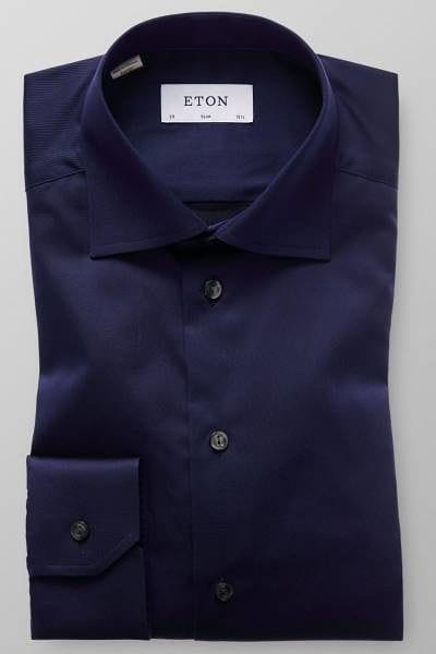 Eton Hemd - Slim Fit - marine, Einfarbig