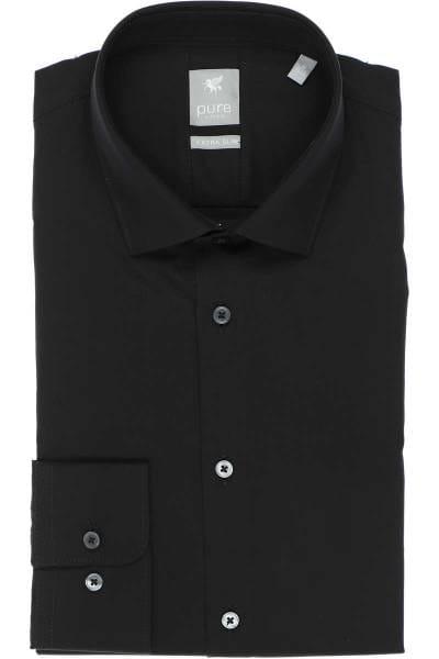 Pure Hemd - Extra Slim - schwarz, Einfarbig