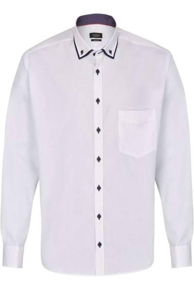 Hatico Regular Fit Hemd weiss, Einfarbig