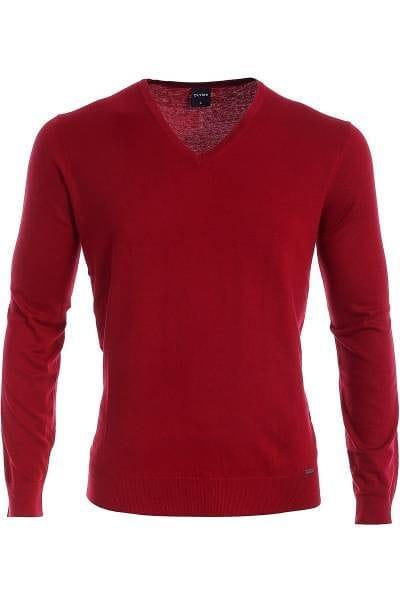 Olymp Strick - V-Ausschnitt Pullover - Seide/Kaschmir - rot