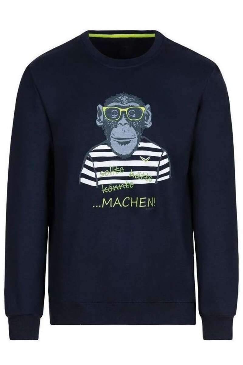 TRIGEMA Comfort Fit Sweatshirt Rundhals navy, bedruckt M