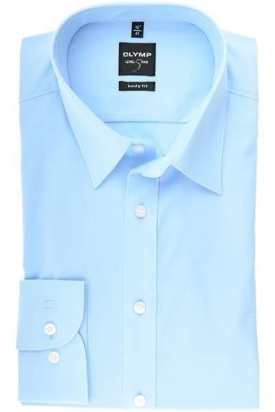 Olymp Level Five Body Fit Hemd hellblau, Einfarbig