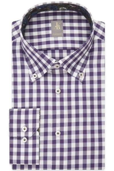 Jacques Britt Custom Fit Hemd lila/weiss, Kariert