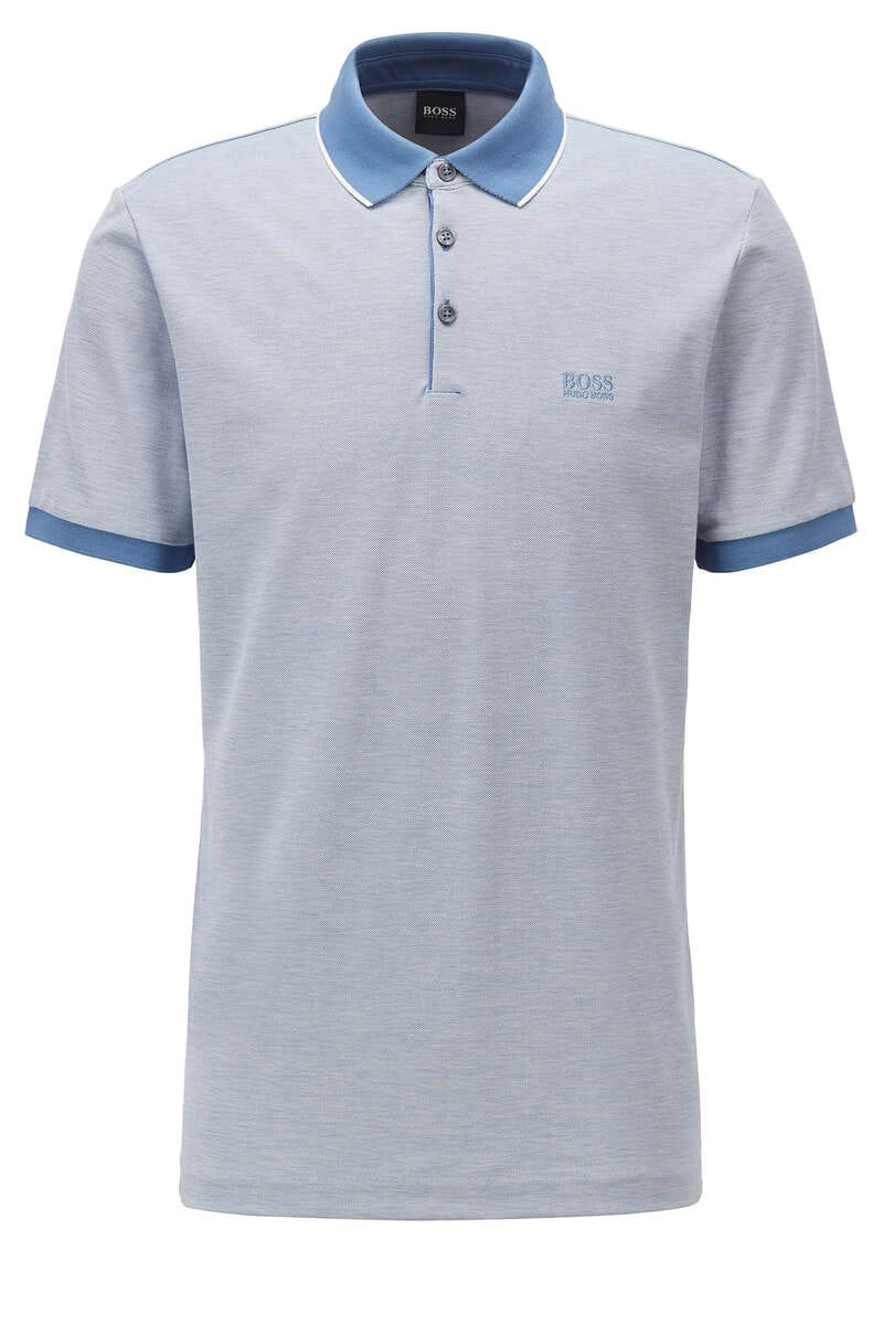 BOSS Regular Fit Poloshirt blau, Einfarbig M