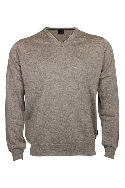 Olymp Strick - V-Ausschnitt Pullover - nougat