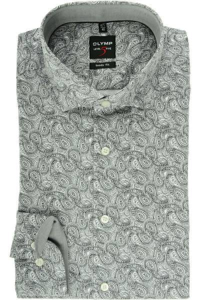 Olymp Level Five Body Fit Hemd weiss, Paisley