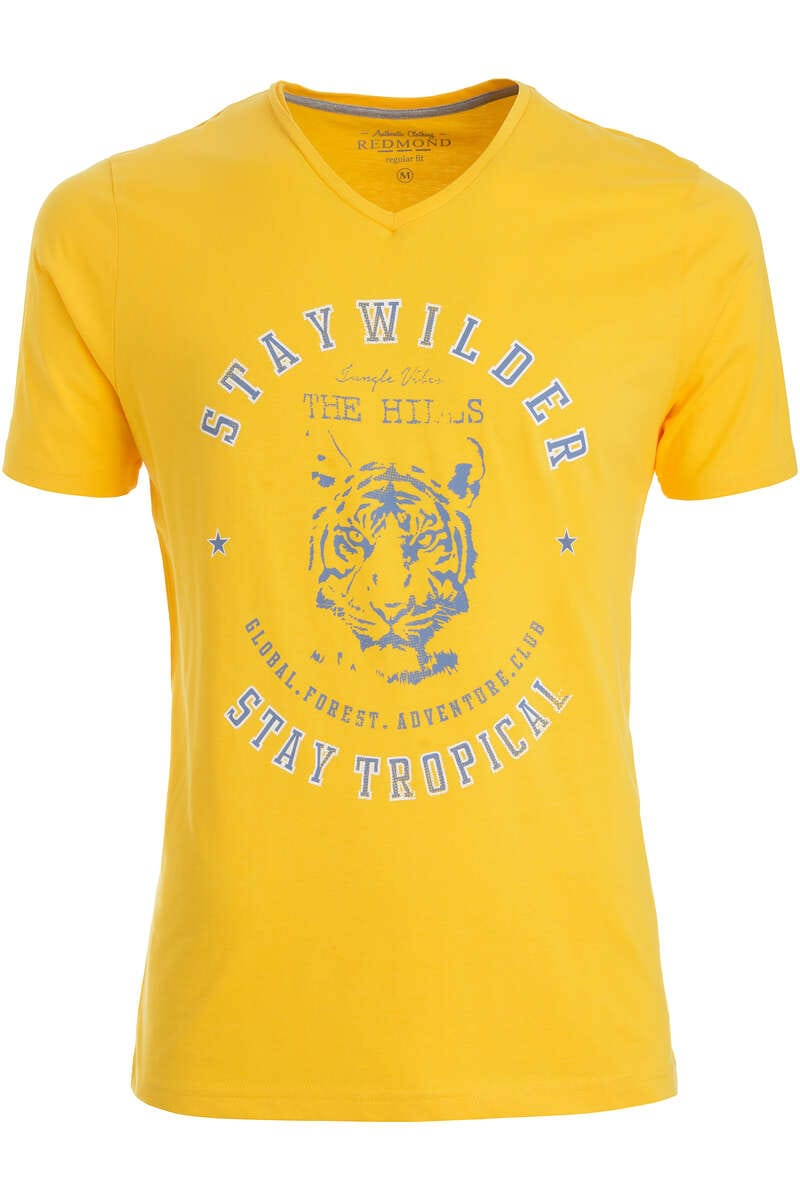 Redmond T-Shirt V-Ausschnitt gelb, gemustert L