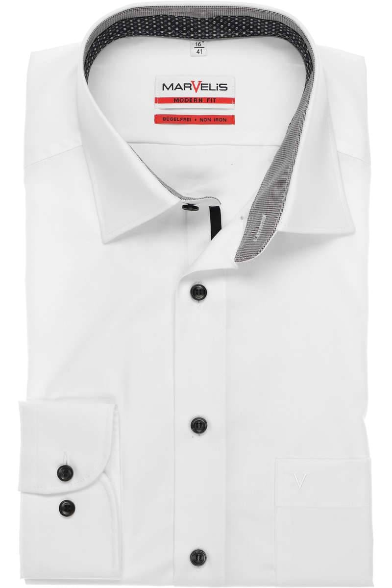 Marvelis Modern Fit Hemd weiß, Einfarbig
