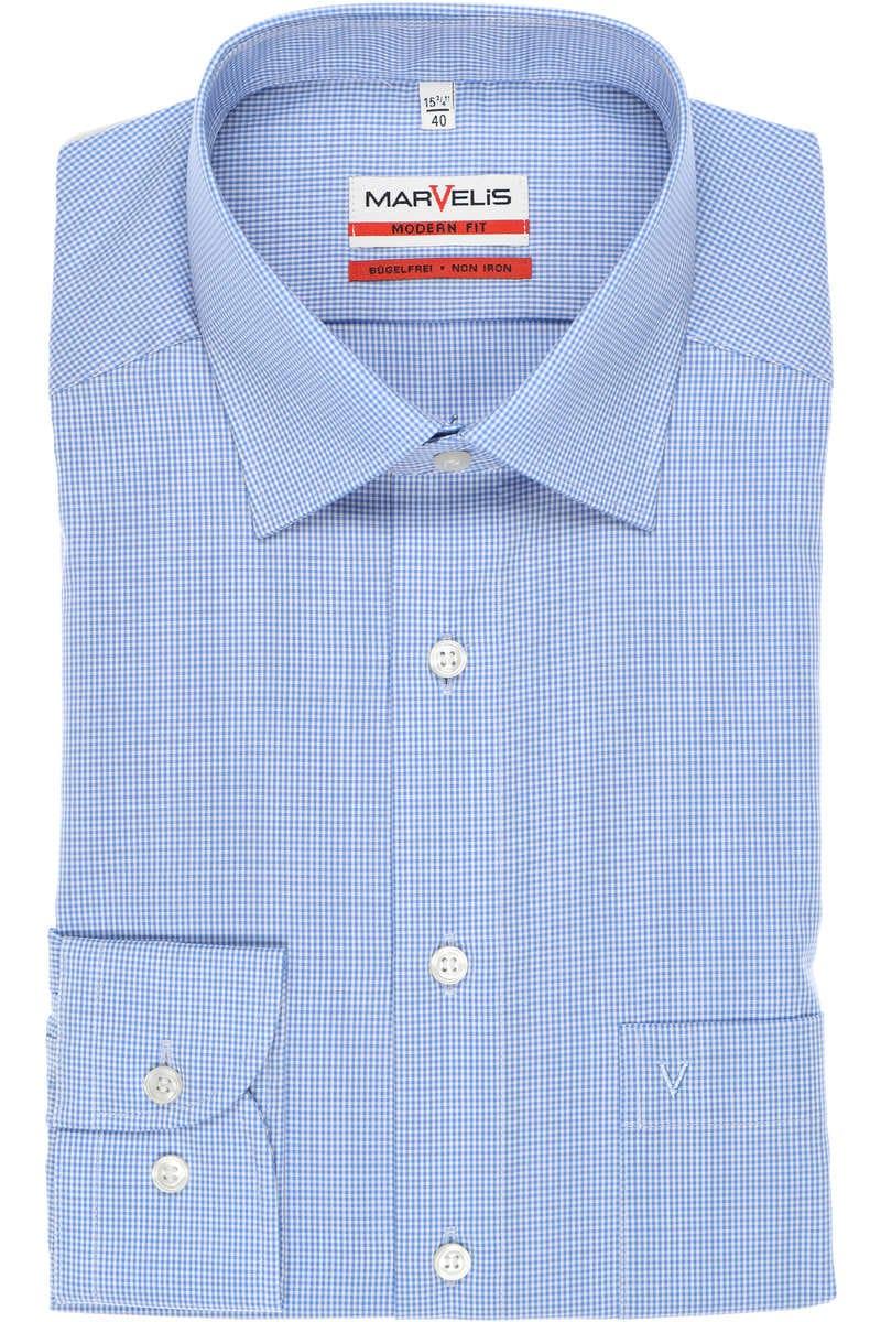 Marvelis Modern Fit Hemd blau/weiss, Vichykaro 39 - M