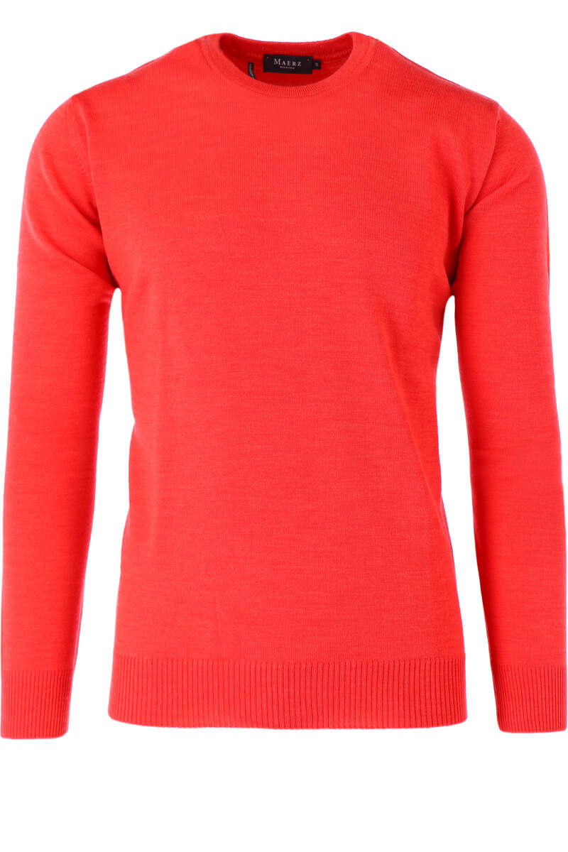 Maerz Casual Classic Fit Pullover Rundhals orangerot, einfarbig 48