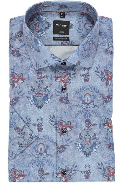 OLYMP Luxor Modern Fit Hemd blau/rot, Paisley