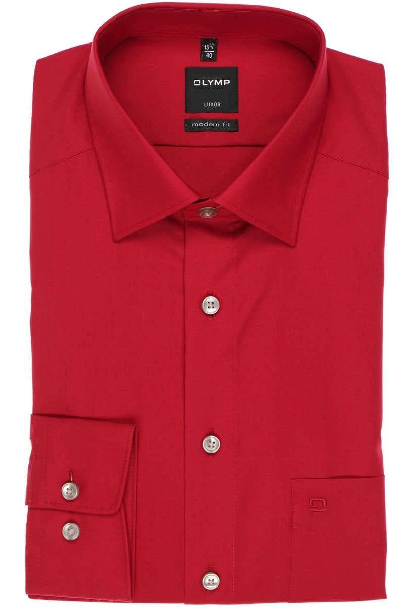 Olymp Hemd - Modern Fit - kirsche, Einfarbig
