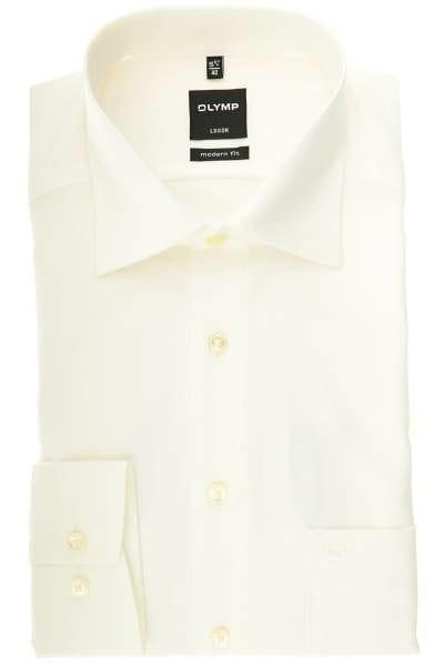 Olymp Hemd - Modern Fit - beige, Einfarbig