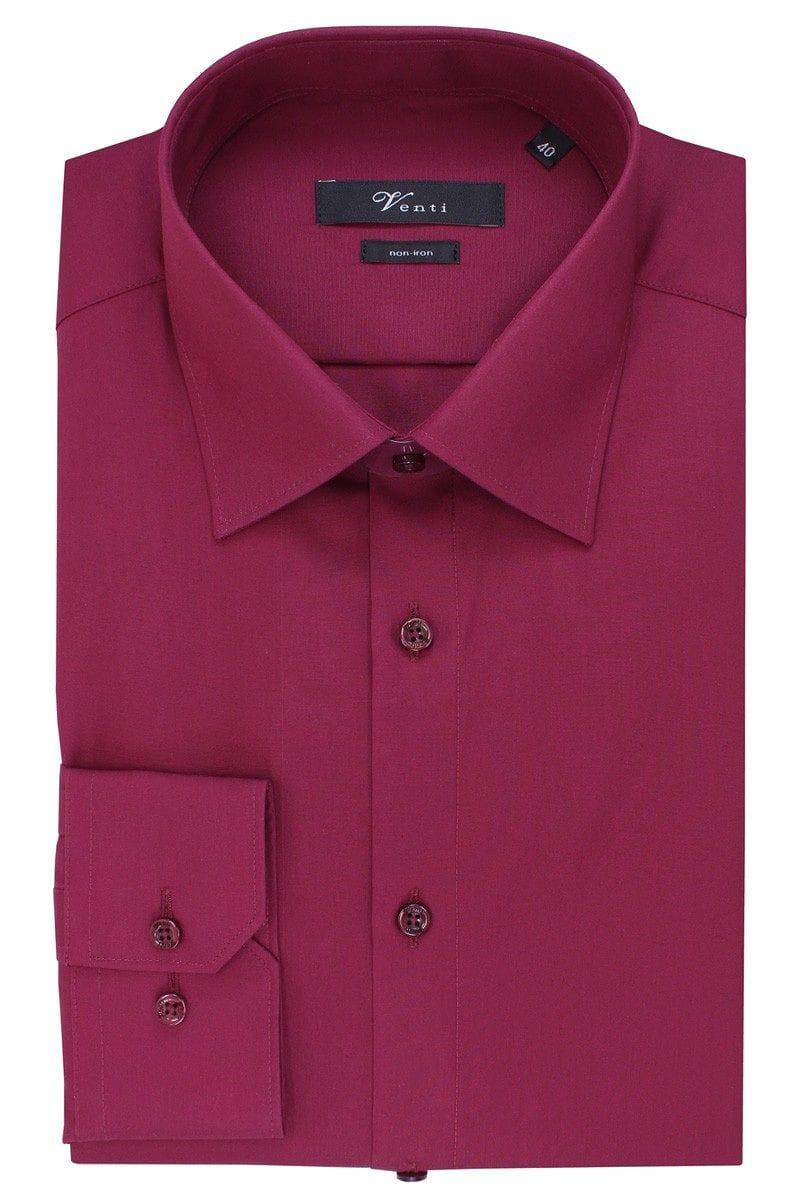 Venti Hemd - Slim Fit - dunkelrot, Einfarbig