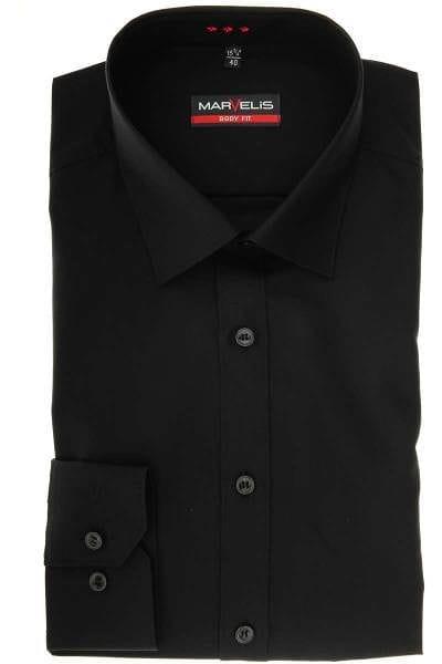 Marvelis Body Fit Hemd schwarz, Einfarbig