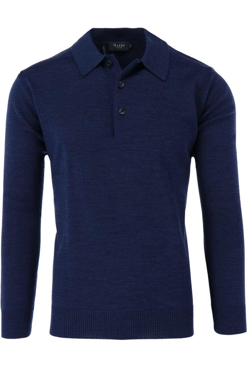 Maerz Casual Classic Fit Pullover Polokragen dunkelblau, einfarbig 48