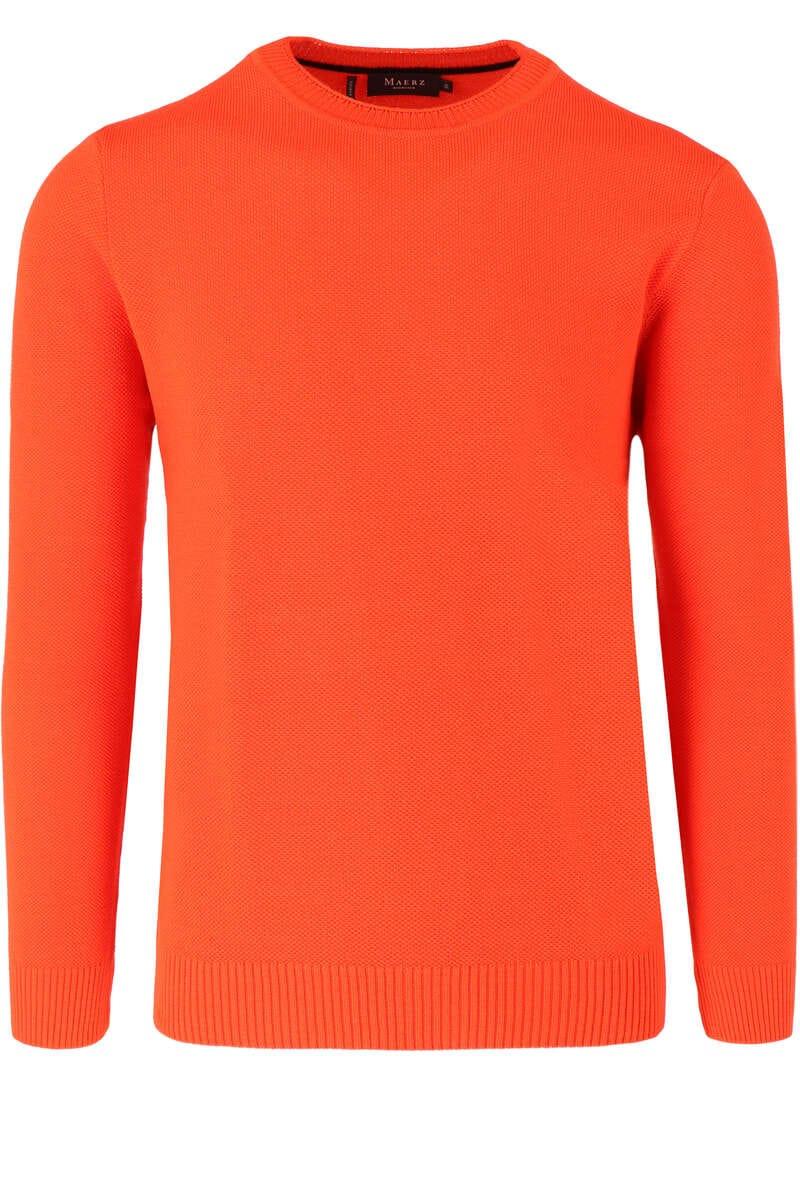 MAERZ Classic Fit Pullover Rundhals orangerot, einfarbig 50
