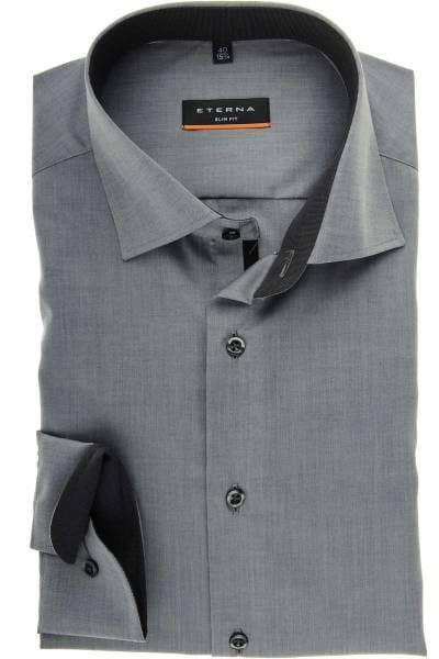 Eterna Slim Fit Hemd grau, Einfarbig