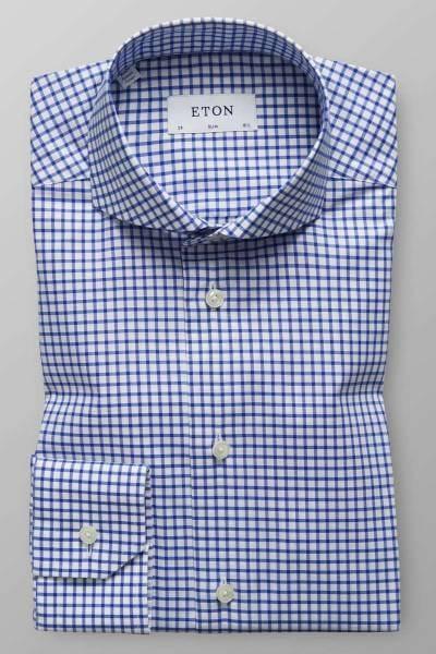 Eton Slim Fit Hemd blau/weiss, Kariert