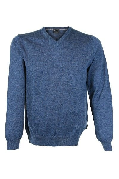 Olymp Strick - V-Ausschnitt Pullover - blau