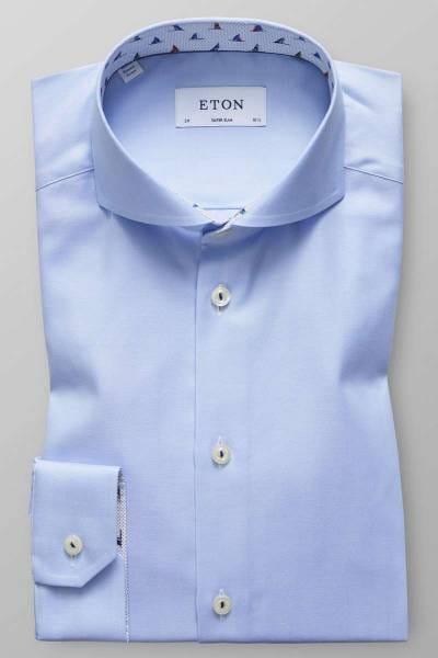 Eton Super Slim Hemd hellblau, Einfarbig