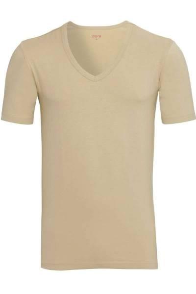 Pure Slim Fit V-Ausschnitt T-Shirt weiss