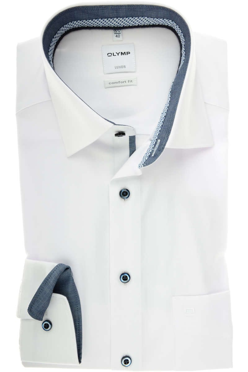 hochwertiges olymp luxor comfort fit hemd in der farbe weiss einfarbig der rmeltyp ist. Black Bedroom Furniture Sets. Home Design Ideas