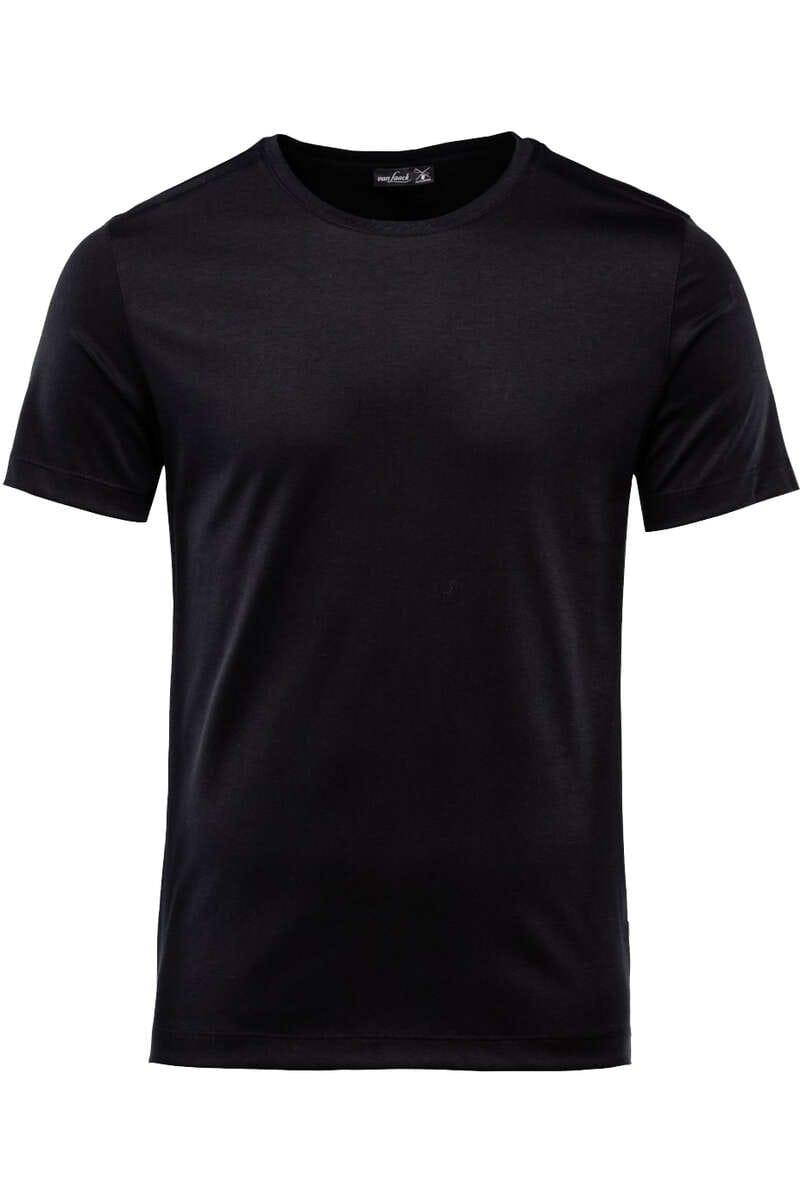 van Laack T-Shirt Rundhals schwarz, einfarbig M