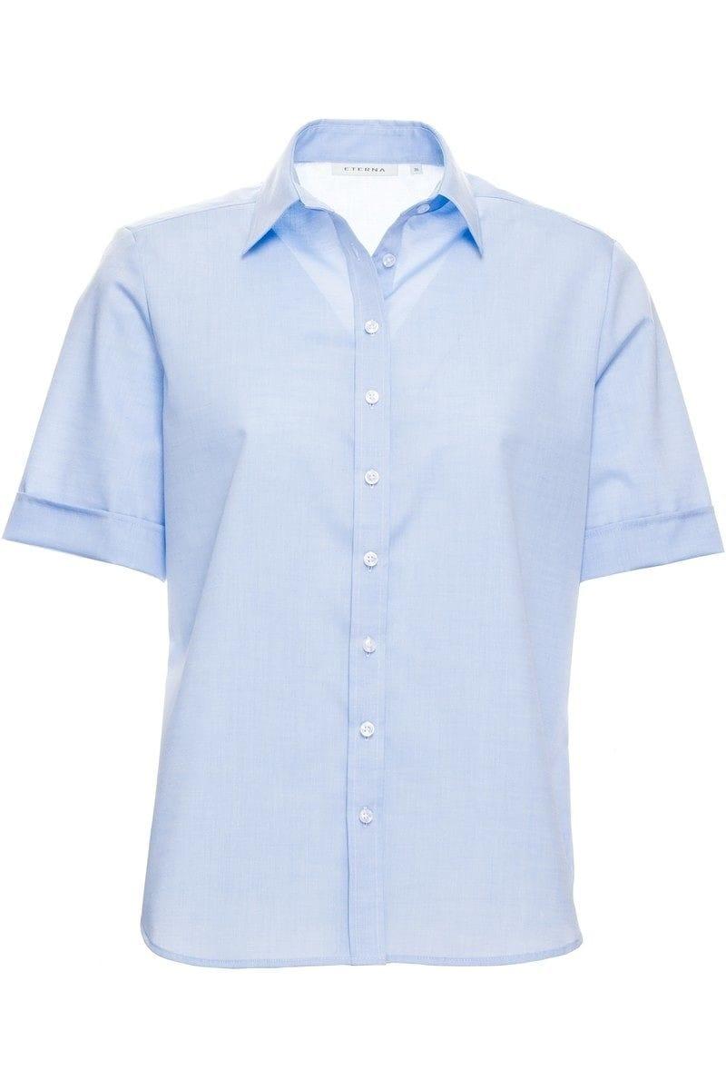 eterna bluse comfort fit in kurzarm 22cm bleu einfarbig. Black Bedroom Furniture Sets. Home Design Ideas