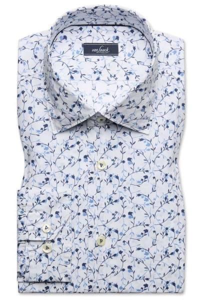 van Laack Tailor Fit Hemd blau/weiss, Gemustert