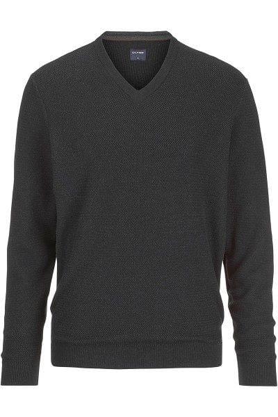 Olymp Strick - V-Ausschnitt Pullover - anthrazit