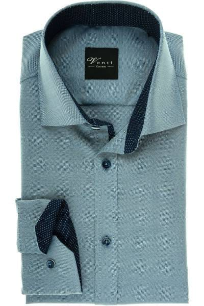 Venti Slim Fit Hemd blau/silber, Strukturiert