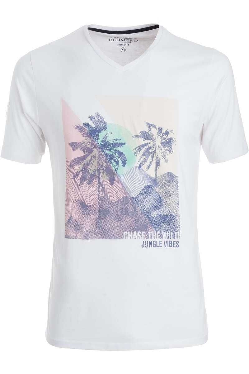 Redmond T-Shirt V-Ausschnitt weiss, gemustert S