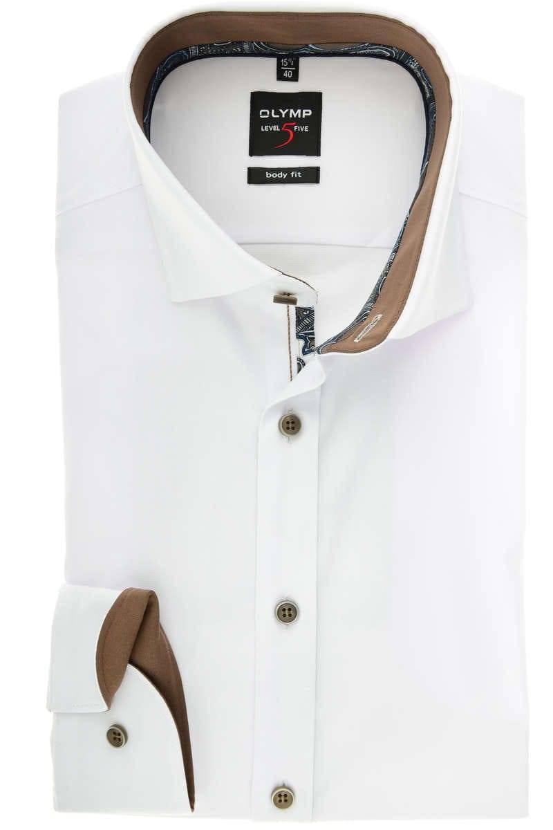 74cfc80a Hochwertiges OLYMP Level Five Body Fit Hemd mit extra langem Arm (69cm) in  der Farbe weiss, Faux-Uni. Der Ärmeltyp ist Extra langer Arm (69cm), ...